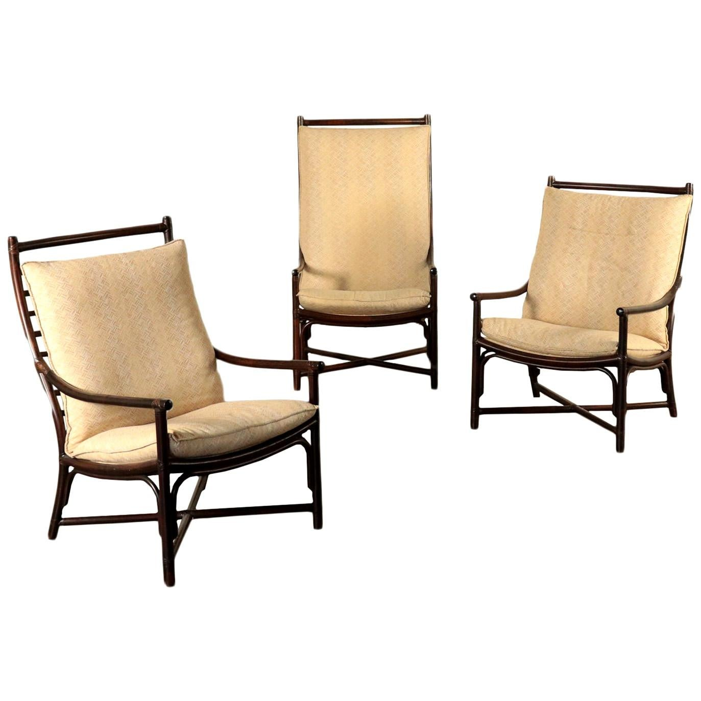 Armchairs, Bamboo Foam and Fabric, Italy, 1980s