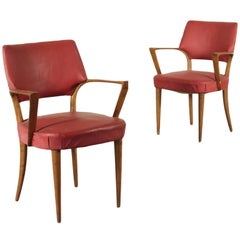 Armchairs, Beech Spring and Leatherette, Italy, 1950s