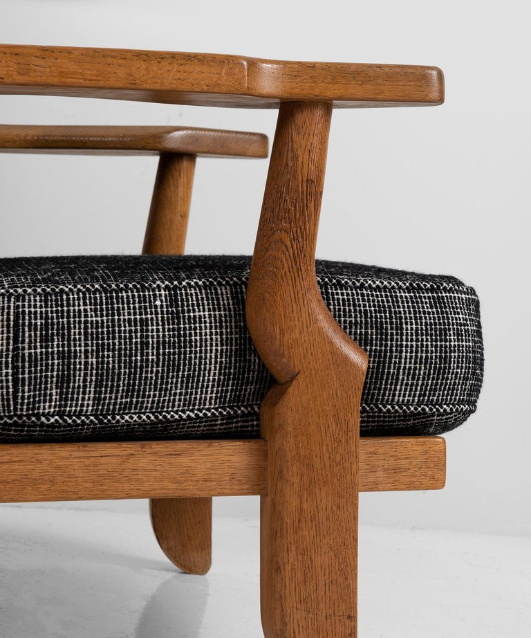 Oak Armchairs by Guillerme & Chambron, France, circa 1950 For Sale