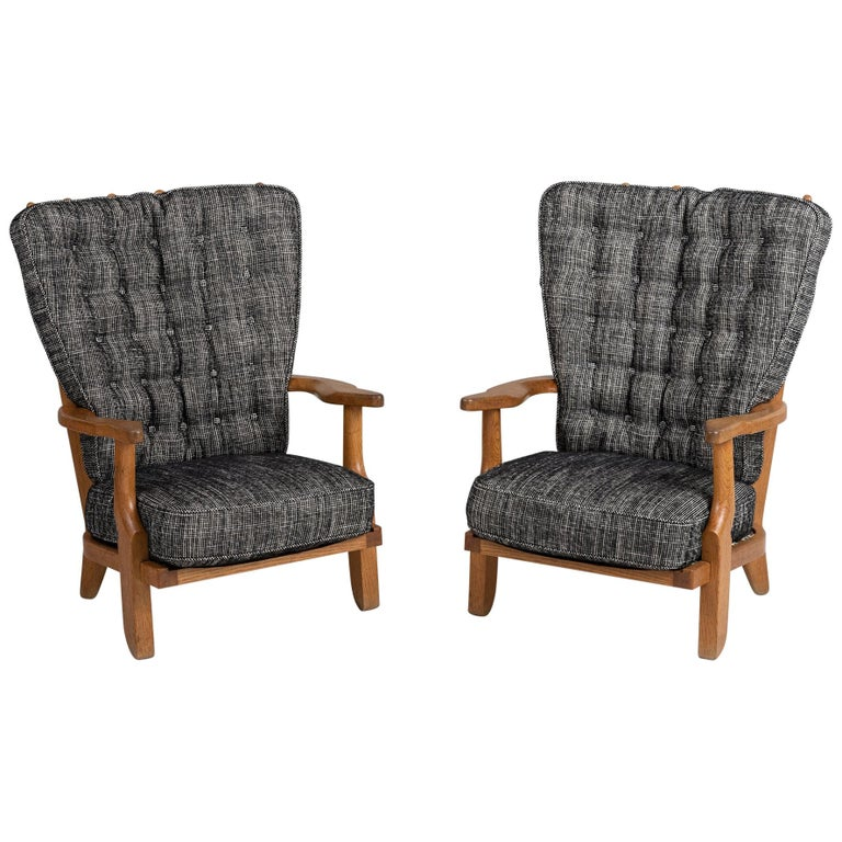 Armchairs by Guillerme & Chambron, France, circa 1950 For Sale