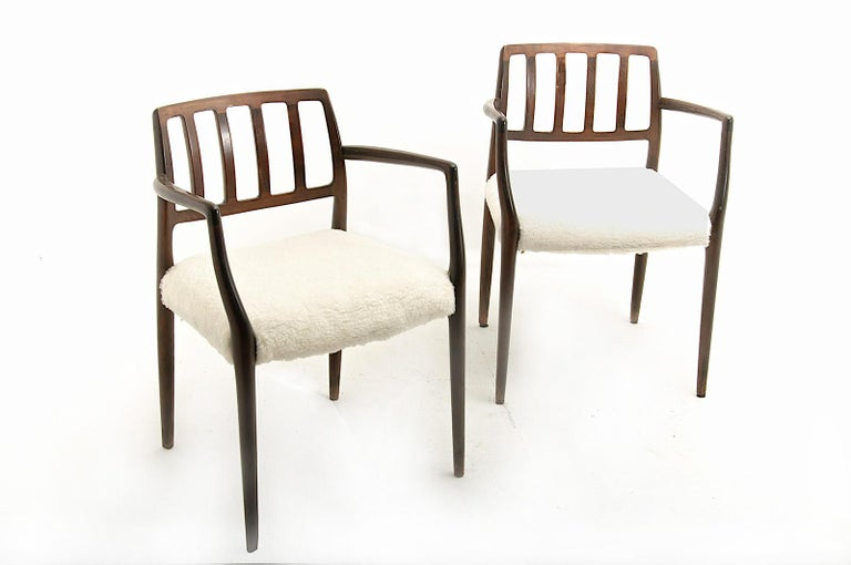 Armchairs by Niels Otto Møller, in Varnished and Stained Teck, Peluche Fabric For Sale 3