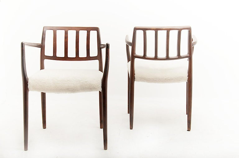 Scandinavian Modern Armchairs by Niels Otto Møller, in Varnished and Stained Teck, Peluche Fabric For Sale