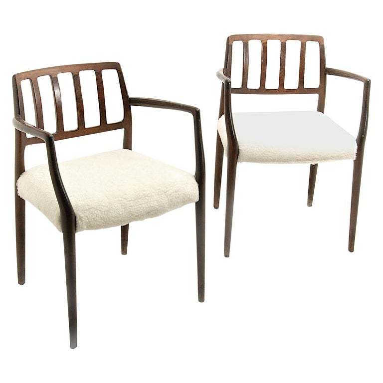 Armchairs by Niels Otto Møller, in Varnished and Stained Teck, Peluche Fabric For Sale