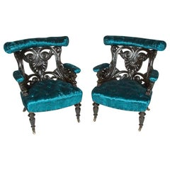 Armchairs Carved with Palmette Motif and Griffons, in Electric Blue Velvet