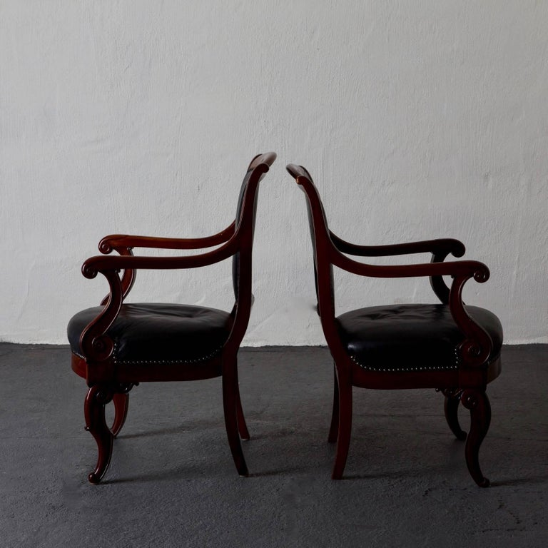Armchairs French Empire Mahogany Brown Black Leather Upholstery France In Good Condition For Sale In New York, NY