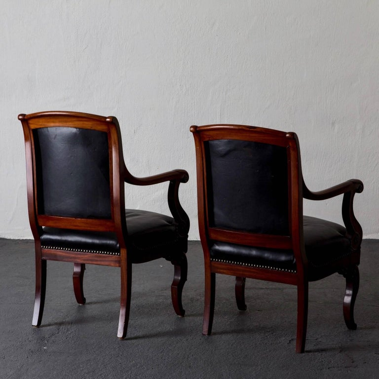 19th Century Armchairs French Empire Mahogany Brown Black Leather Upholstery France For Sale