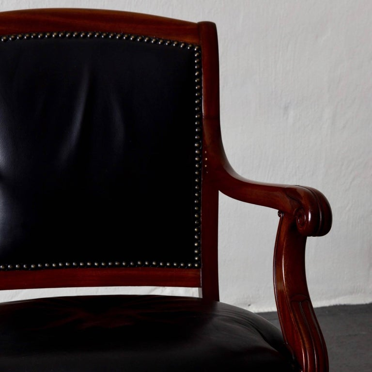 Armchairs French Empire Mahogany Brown Black Leather Upholstery France For Sale 3
