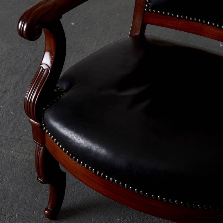 Armchairs French Empire Mahogany Brown Black Leather Upholstery France For Sale 5