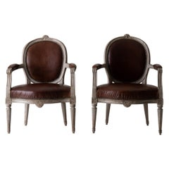Armchairs Gustavian 1780-1800 Swedish Gray Frame Brown Leather Sweden