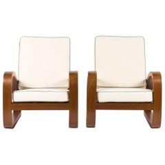 Armchairs in Mahogany and Beige Linen Fabric Colonial Style, 1950, Set of Two