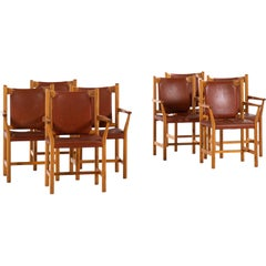 Armchairs in Oregon Pine and Leather Produced in Sweden