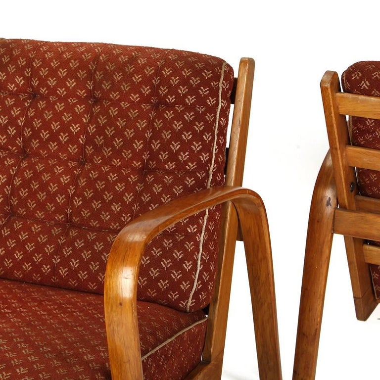 Bohemian Armchairs in Wood and Fabric, Kropacek & Kuzelka circa 1950 For Sale