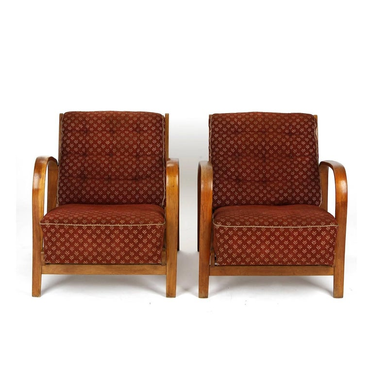 Czech Armchairs in Wood and Fabric, Kropacek & Kuzelka circa 1950 For Sale