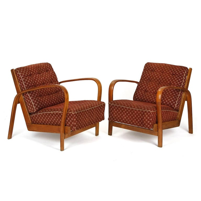 Armchairs in Wood and Fabric, Kropacek & Kuzelka circa 1950 In Good Condition For Sale In Zohor, SK