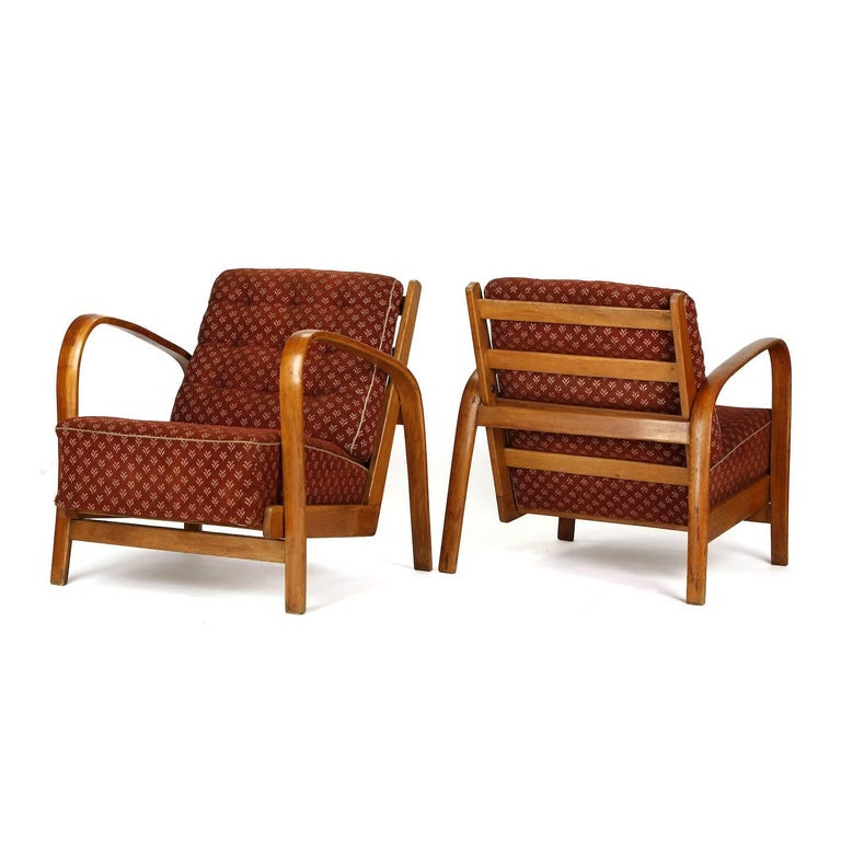 20th Century Armchairs in Wood and Fabric, Kropacek & Kuzelka circa 1950 For Sale