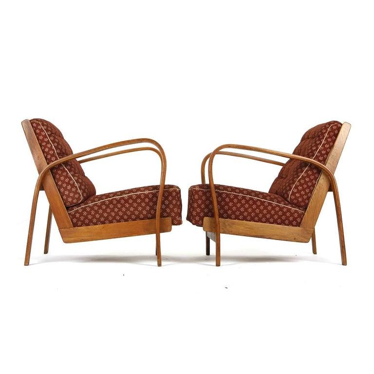 Armchairs in Wood and Fabric, Kropacek & Kuzelka circa 1950 For Sale 1