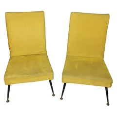 Armchairs in Yellow Velvet Midcentury in Brass and Metal Feet, Italy, 1960s
