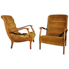 Armchairs Midcentury by Ezio Loghi for Elam, Velvet and Wood, Italy