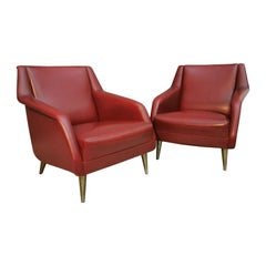 Mid Century Armchairs by Carlo de Carli in Red Eco-Leather, 1950s, Italy