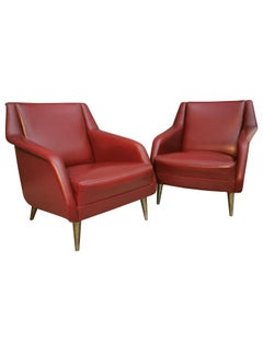 Armchairs Midcentury Model 802 by Carlo de Carli in Red Eco-Leather, 1950s