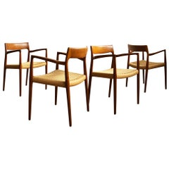 Armchairs, Model 57 by Niels O. Møller in Teak and Paper Cord, Set of 4