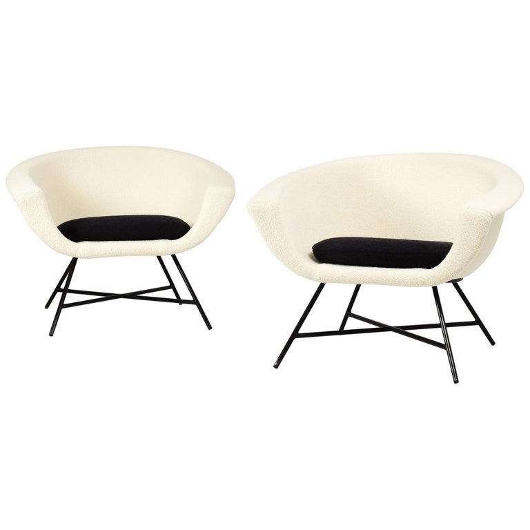 Armchairs Model 58 Genevieve Dangles & Christian Defrance for Burov, 1950s For Sale