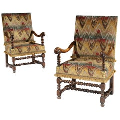 Armchairs, Pair, Flemish, 17th Century, Walnut, Upholstered, Bargello, Scrollarm