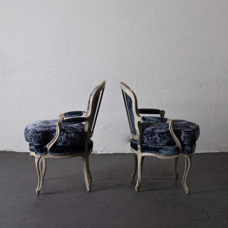 Rococo Pair of French Armchairs White Blue Louis XV Period Velvet, France For Sale