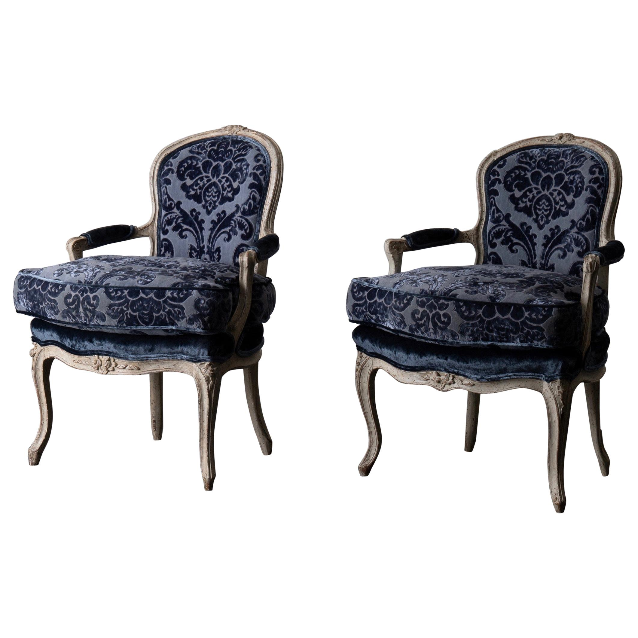Pair of French Armchairs White Blue Louis XV Period Velvet, France