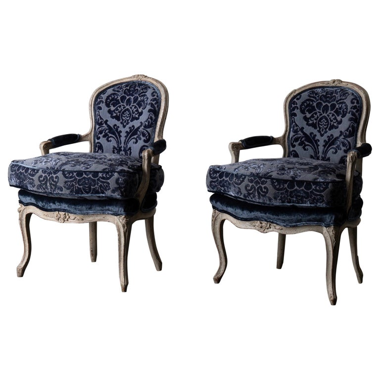 Pair of French Armchairs White Blue Louis XV Period Velvet, France For Sale