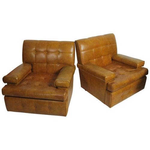 Armchairs, Pair, Lounge, Tan, Vinyl, 1960s, Danish, Modern Design, Tufted