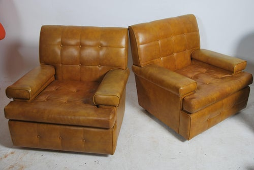 Armchairs, pair, lounge, tan, vinyl, 1960's, Danish, modern design, tufted