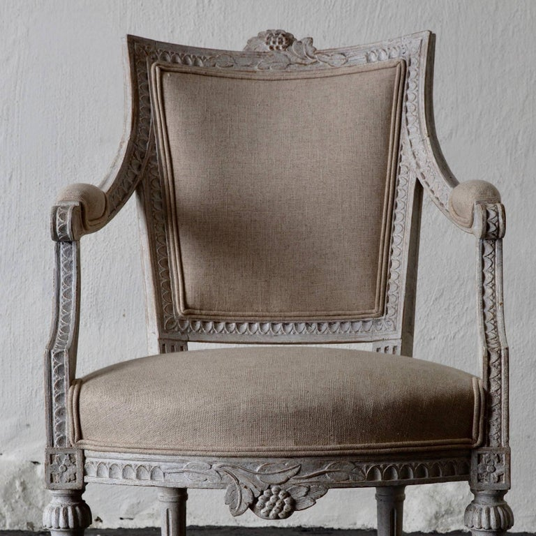 Armchairs Pair of Gustavian 19th Century Swedish White Beige Sweden For Sale 1