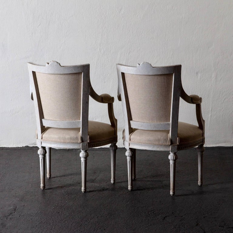 Armchairs Pair of Gustavian 19th Century Swedish White Beige Sweden For Sale 2