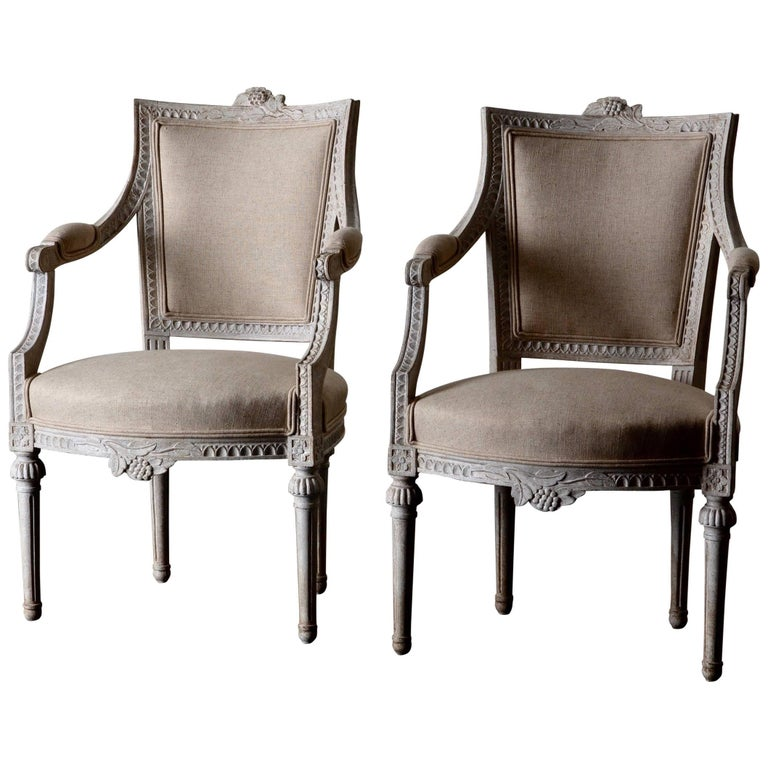 Armchairs Pair of Gustavian 19th Century Swedish White Beige Sweden For Sale