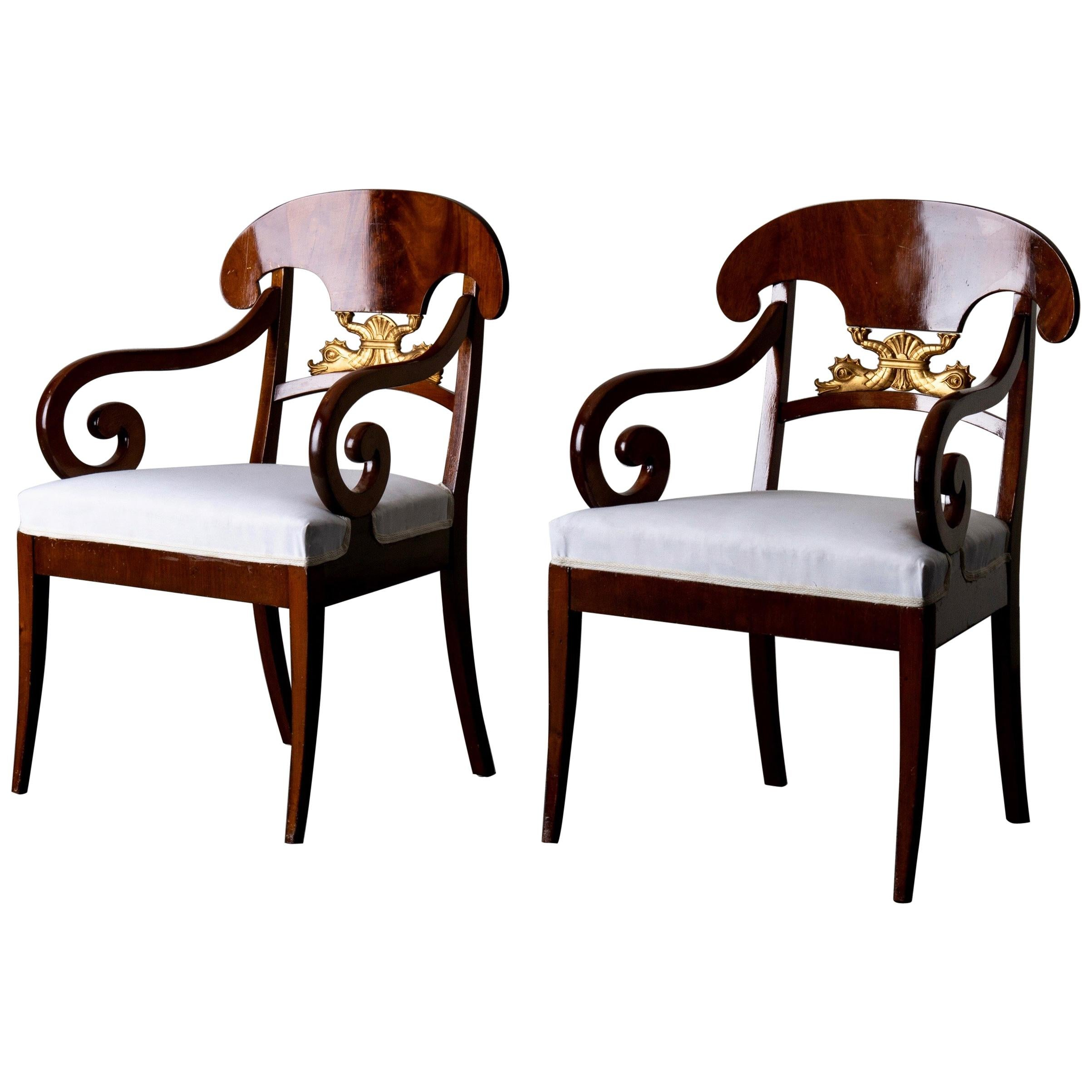 Armchairs Pair of Swedish Empire 19th Century Mahogany Gilded, Sweden