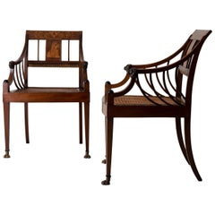 Armchairs Pair of Swedish Neoclassical Mahogany, Early 19th Century, Sweden