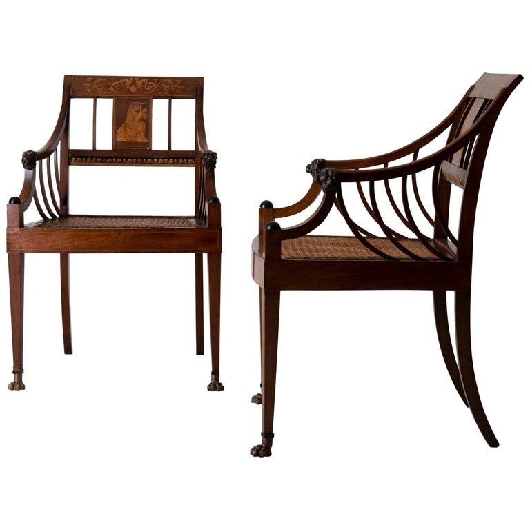 Armchairs Pair of Swedish Neoclassical Mahogany, Early 19th Century, Sweden For Sale