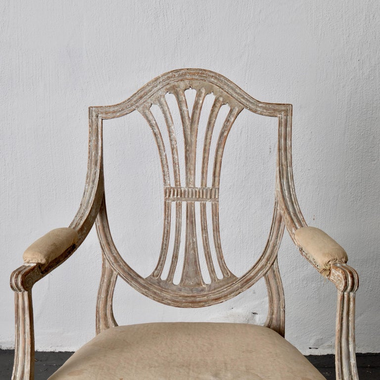 Armchairs Pair of Swedish Gustavian Period Original Paint Sweden For Sale 4