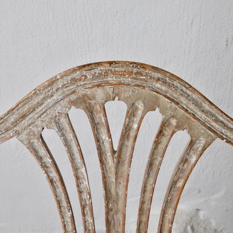 Armchairs Pair of Swedish Gustavian Period Original Paint Sweden For Sale 6