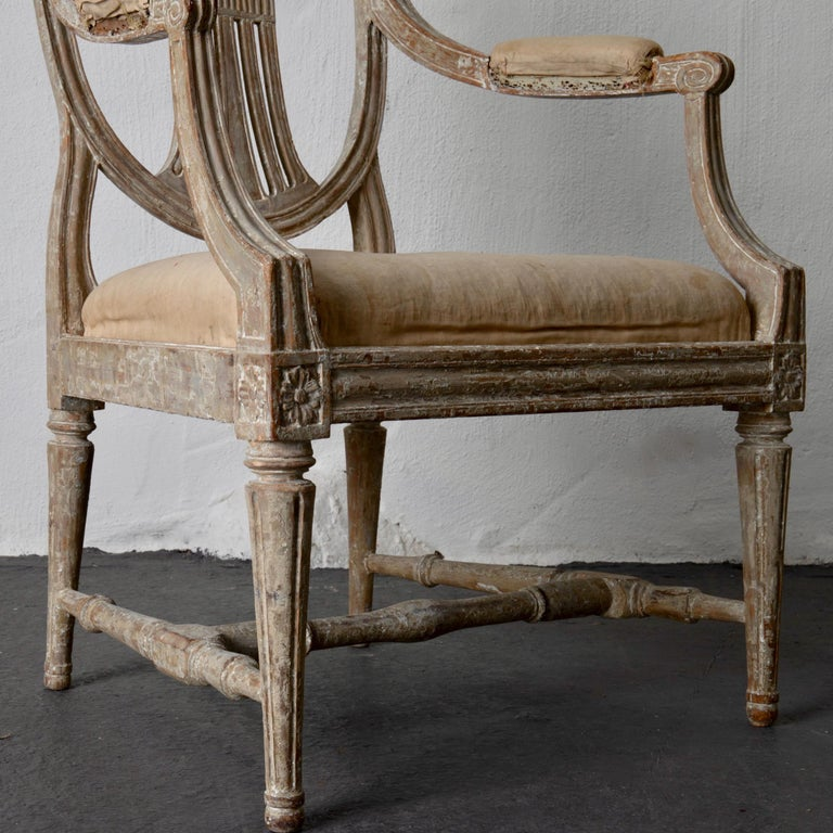 Armchairs Pair of Swedish Gustavian Period Original Paint Sweden For Sale 7