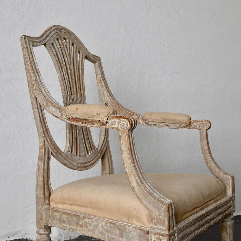 Armchairs Pair of Swedish Gustavian Period Original Paint Sweden For Sale 8