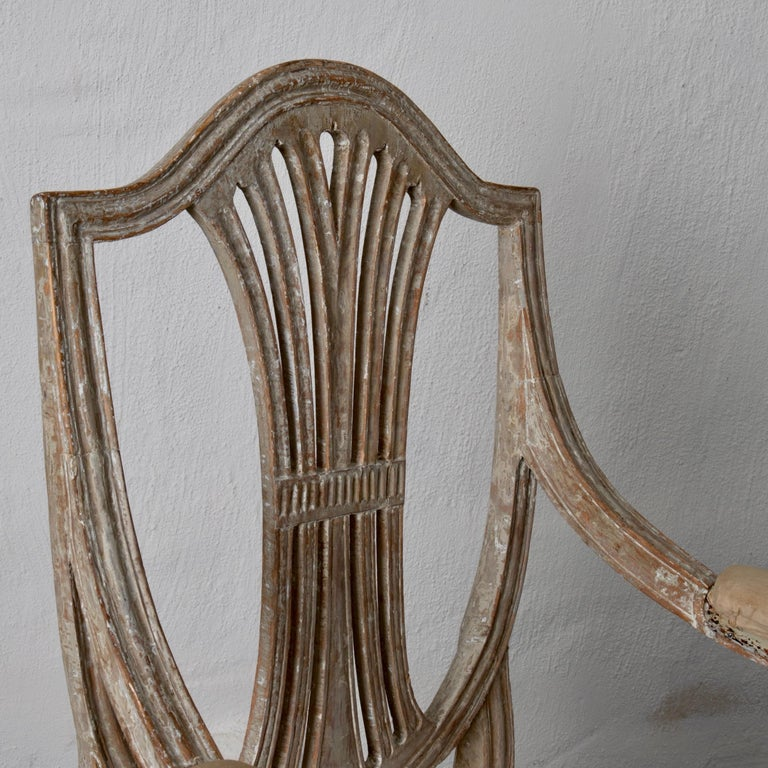 Armchairs Pair of Swedish Gustavian Period Original Paint Sweden For Sale 9