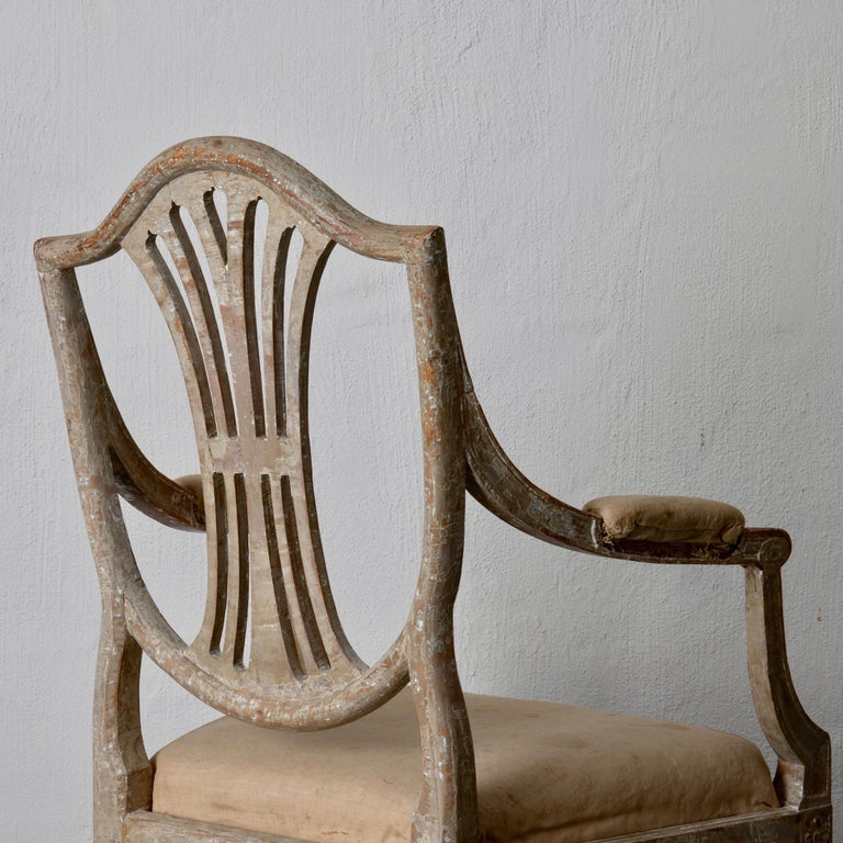 Armchairs Pair of Swedish Gustavian Period Original Paint Sweden For Sale 10