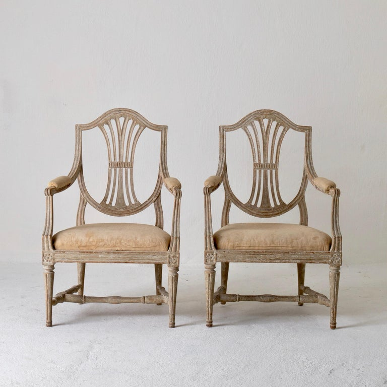 Hand-Painted Armchairs Pair of Swedish Gustavian Period Original Paint Sweden For Sale
