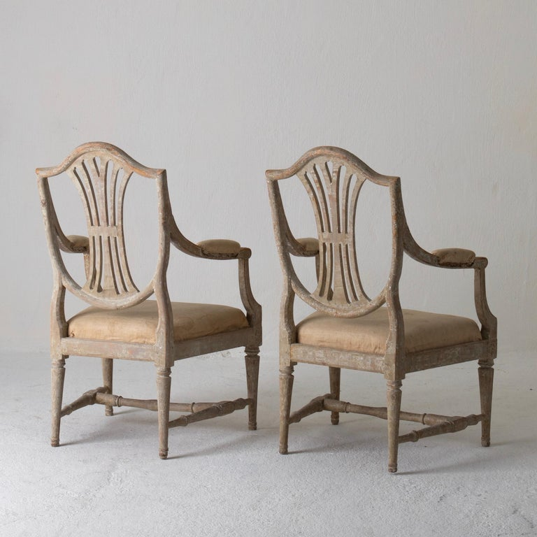 18th Century Armchairs Pair of Swedish Gustavian Period Original Paint Sweden For Sale