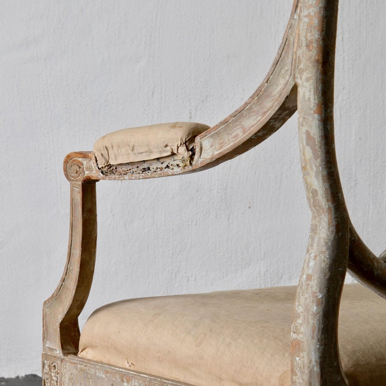 Wood Armchairs Pair of Swedish Gustavian Period Original Paint Sweden For Sale