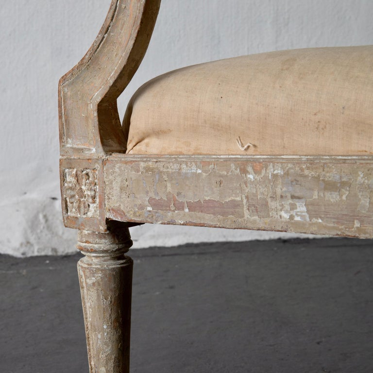 Armchairs Pair of Swedish Gustavian Period Original Paint Sweden For Sale 1