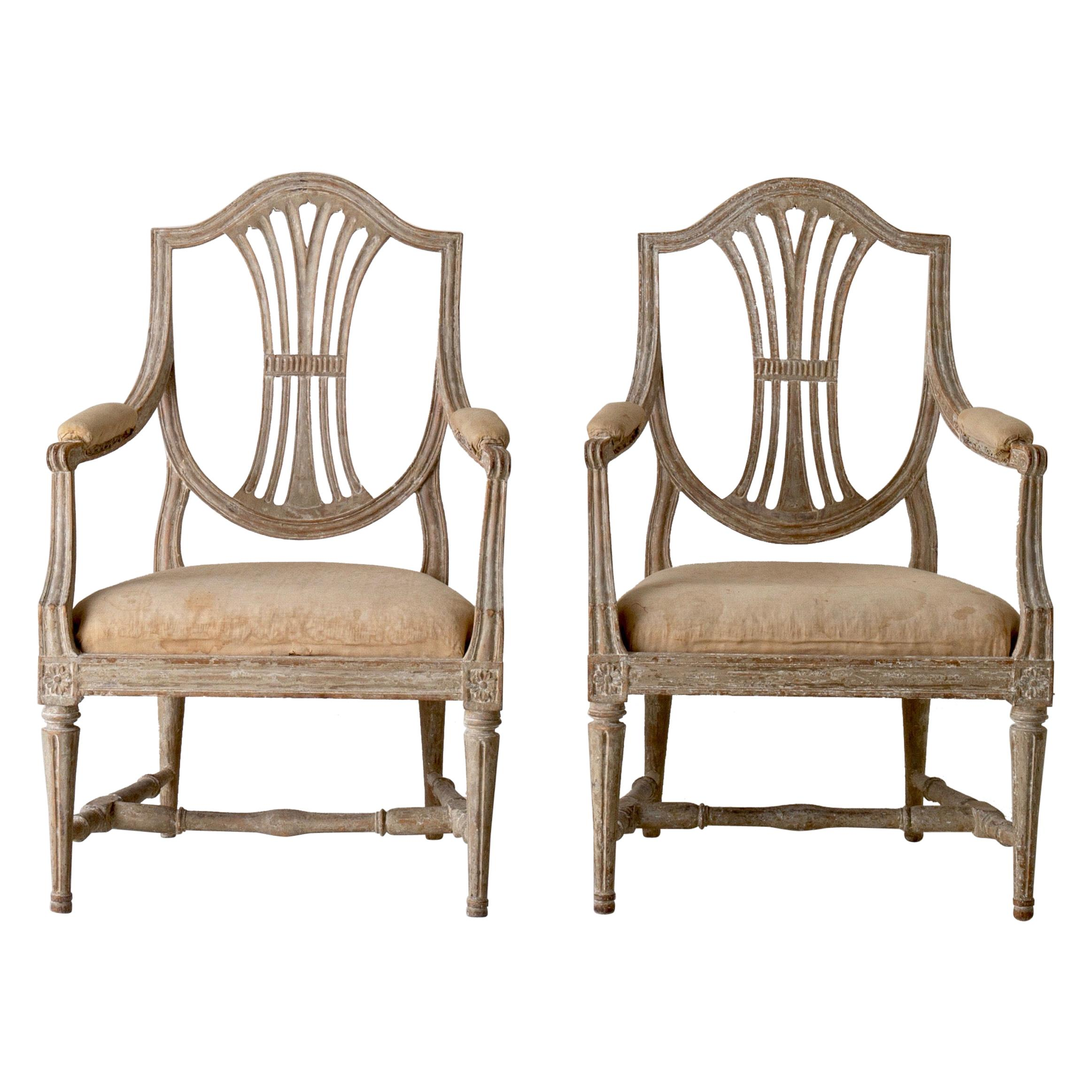Armchairs Pair of Swedish Gustavian Period Original Paint Sweden