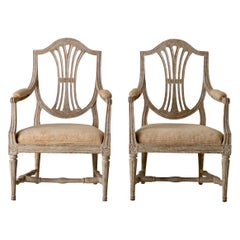 Armchairs Pair of Swedish Gustavian Period Original Paint Sweden